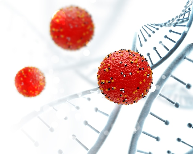 3d dna strands and virus cells Free Photo