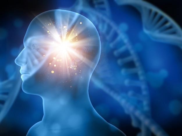 3dぼやけたdna鎖との医学的背景と男性の頭 無料写真