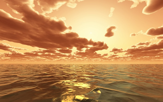 3d dramatic sunset over the ocean Free Photo