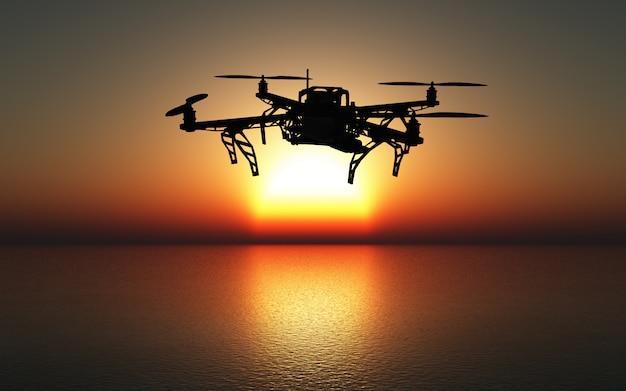 Drone 3d che vola sopra un mare al tramonto Foto Gratuite