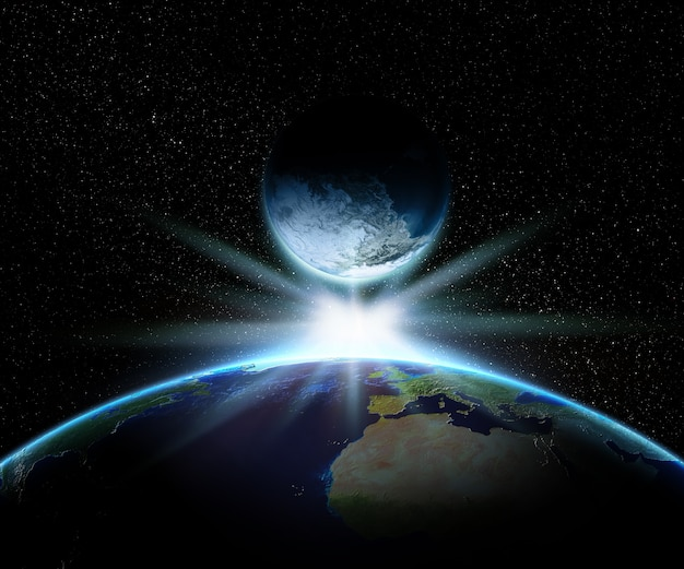 3d earth and fantasy planet with bright star Free Photo
