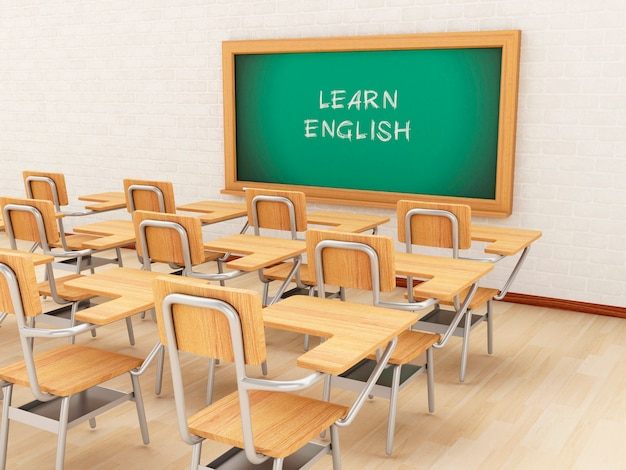 3d empty classroom and chalkboard with learn english. Premium Photo