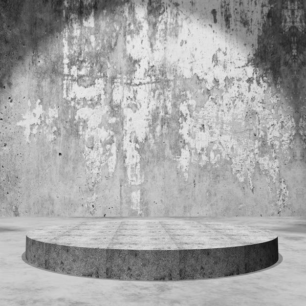 3d empty display podium in grunge concrete room Free Photo