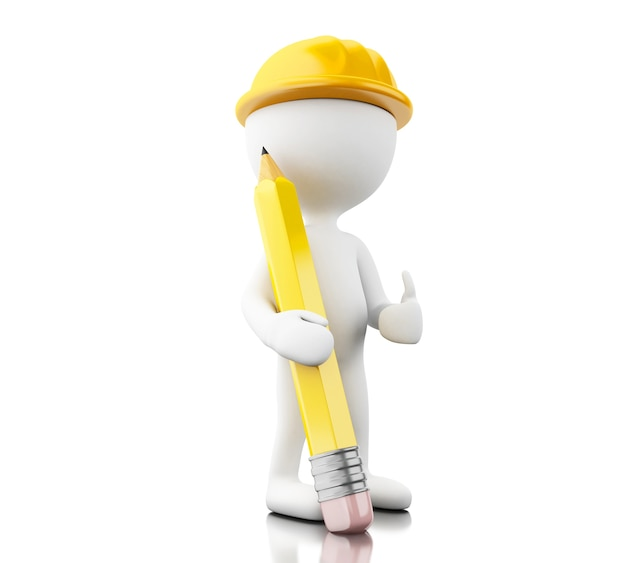 3d engineer with helment and pencil Premium Photo