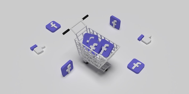 3d facebook logo on cart like concept for creative marketing concept with white surface rendered Premium Photo