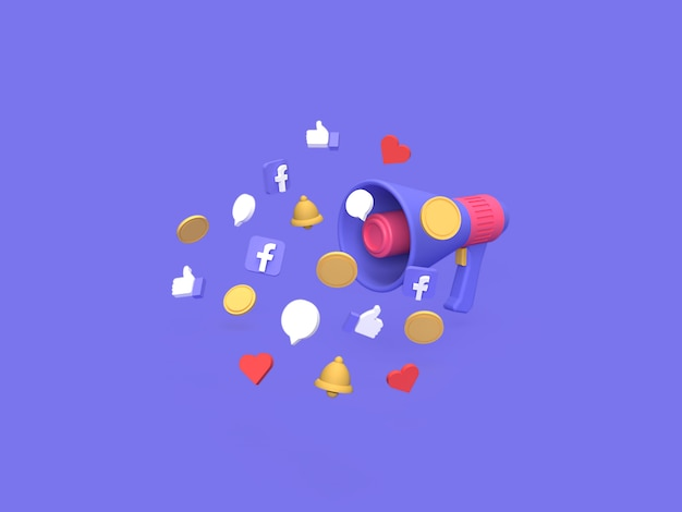 3d facebook marketing campaign budget cost concept with blue background rendered Premium Photo
