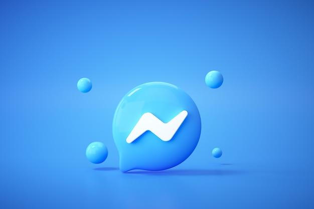 3d-приложение с логотипом facebook и мессенджера на синем фоне, общение в социальных сетях. Premium Фотографии