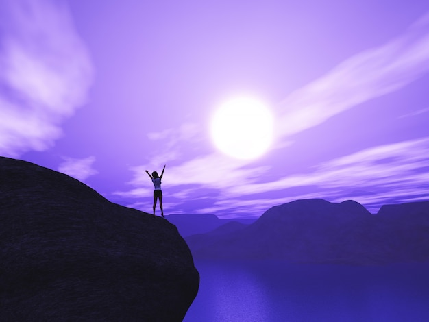 3d female stood on cliff with arms raised in joy against sunset landscape Free Photo