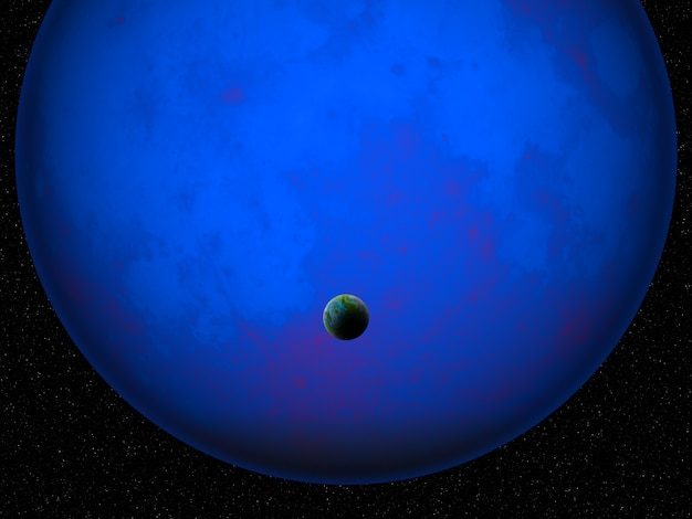 3d fictional space scene with earth like planet against glowing blue planet Free Photo