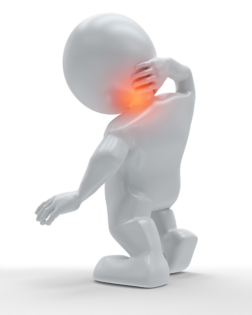 3d figure holding his neck in pain Premium Photo