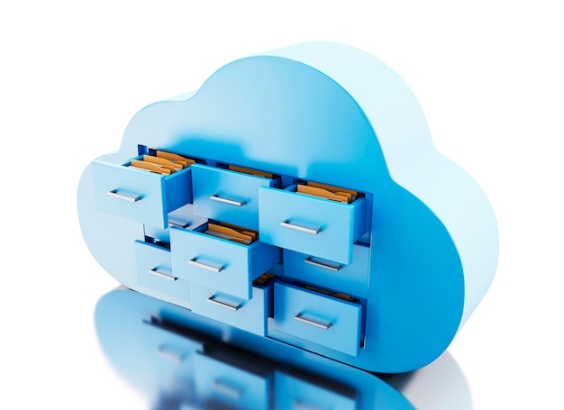 3d file storage in cloud. cloud computing concept. Premium Photo