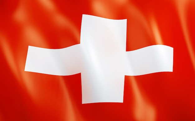 スイスの3d旗。 Premium写真