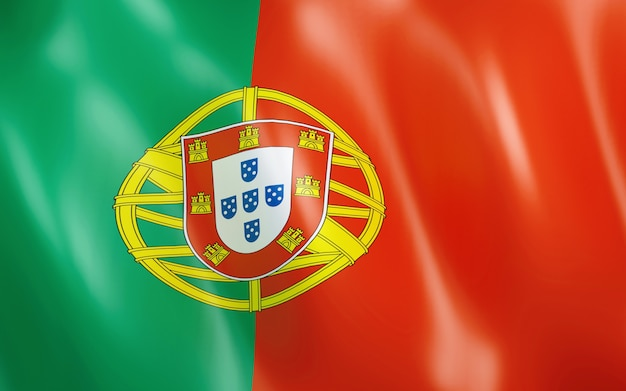 3d flag of portugal. Premium Photo