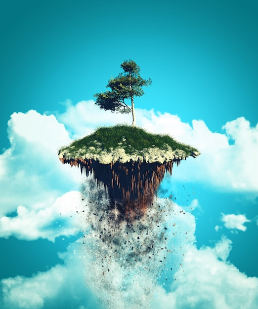 3d floating island exploding into the sky Free Photo