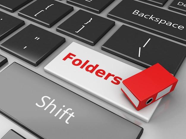 3d folder on the computer keyboard. Premium Photo