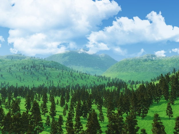 3d forest landscape with low clouds Free Photo
