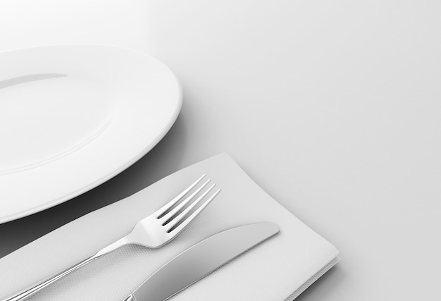 3d fork and knife with empty plate Premium Photo