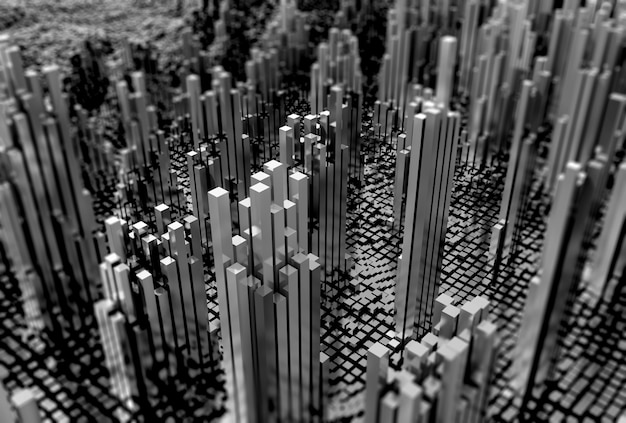 3d futuristic landscape of shiny cubes in monotone Free Photo