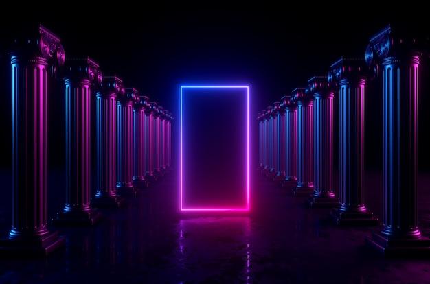 3d геометрический фон с колоннами и светящимися неоновыми огнями. пустая прямоугольная рамка с копией пространства. Premium Фотографии