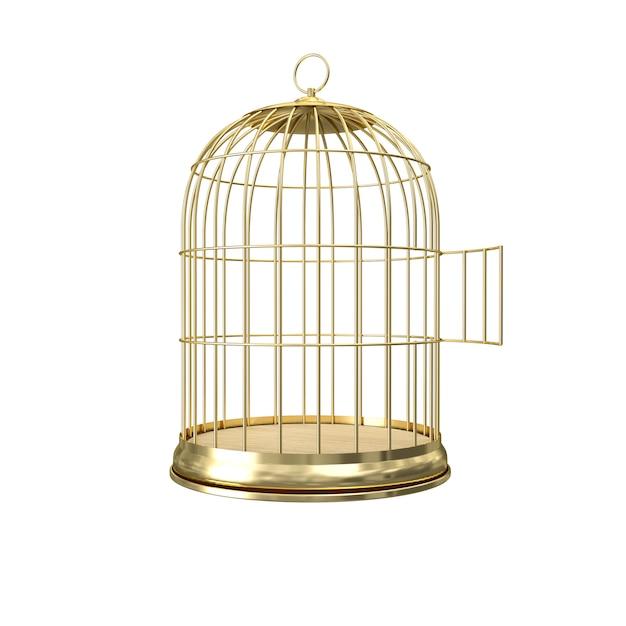 3d золотая птичья клетка Premium Фотографии