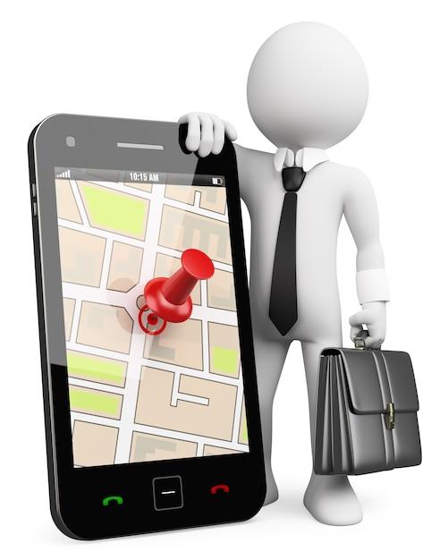 3dビジネス白人。 gps付き携帯電話 Premium写真