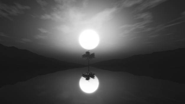 3d greyscale tree in misty landscape with reflection in water Free Photo