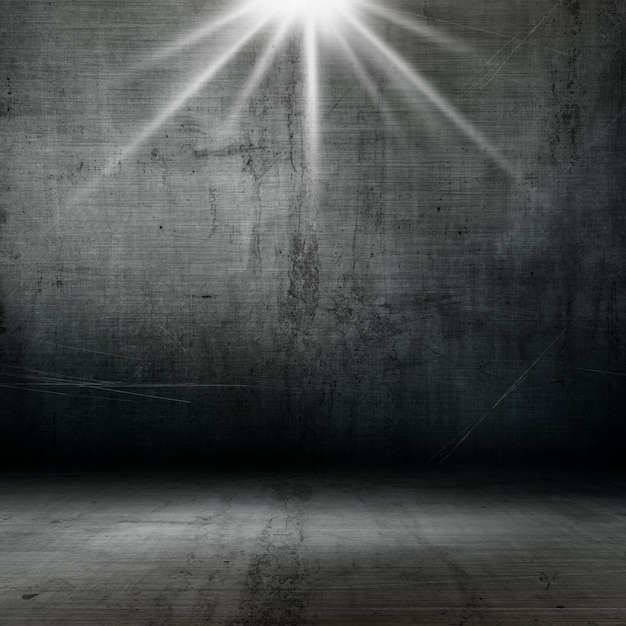 3D Grunge Style Interior With Spotlight Shining Down Free Photo