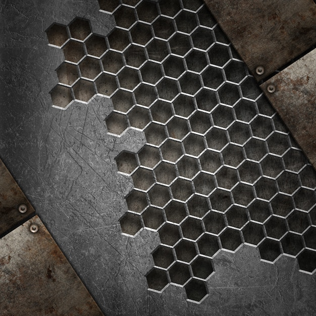 3d grunge texture background with various metal elements | Free Photo