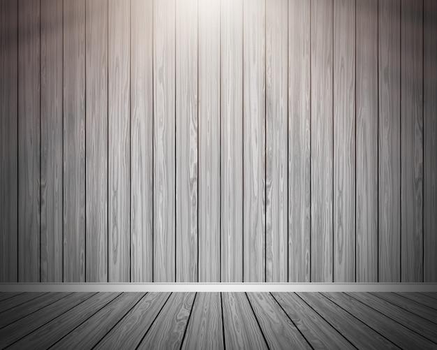 3D grunge wooden room interior  Free Photo