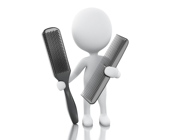 3d hairdresser with comb and hairbrush. Premium Photo
