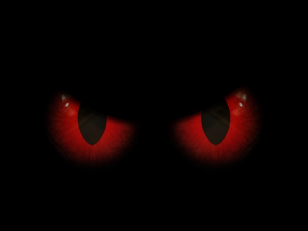 3d halloween background with red evil eyes Free Photo