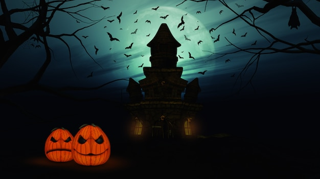 3d halloween background with spooky castle and pumpkins Free Photo
