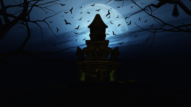 3d halloween background with spooky castle Free Photo