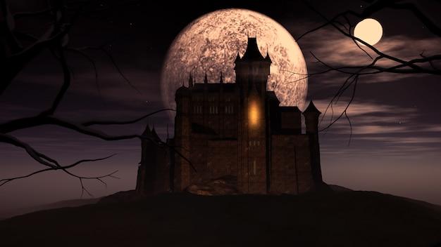 3d хэллоуин фон с жуткий замок Premium Фотографии