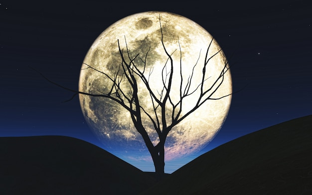 3d halloween background with tree silhouetted against the moon Free Photo