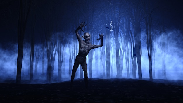 3d halloween background of a zombie emerging from a foggy forest Premium Photo