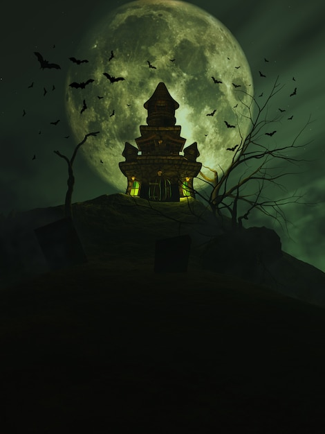 3d halloween castle with bats in the sky Free Photo