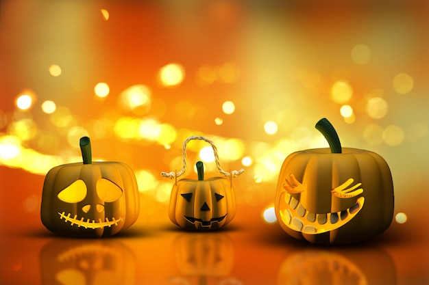 3d halloween pumpkins on a bokeh lights background Free Photo