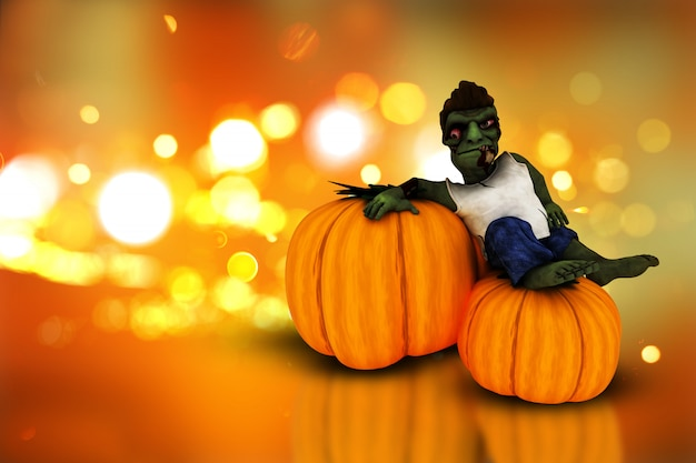 3d halloween pumpkins  and zombie Free Photo