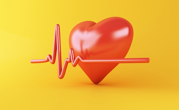 3d heart with heartbeat puls Premium Photo