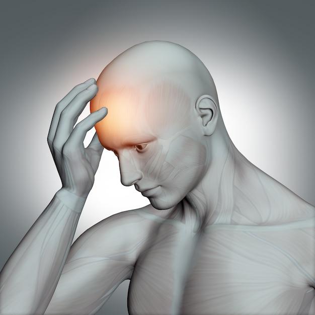 3d human figure with headache Free Photo