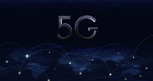 3dイラスト5gワイヤレスネットワークシステム、iot(モノのインターネット)、通信ネットワークの概念。 Premium写真