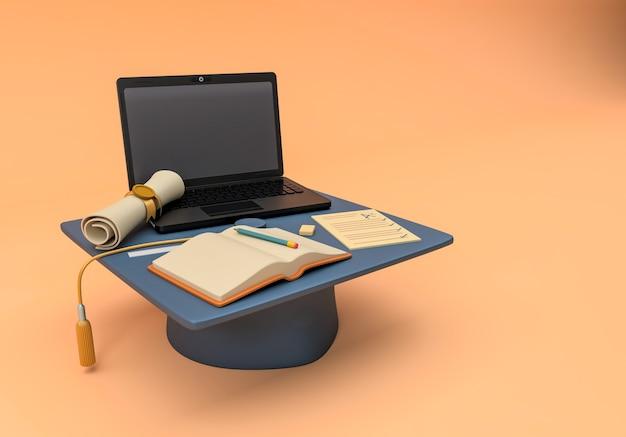 3d иллюстрации. кепка с учебными предметами и ноутбуком Premium Фотографии