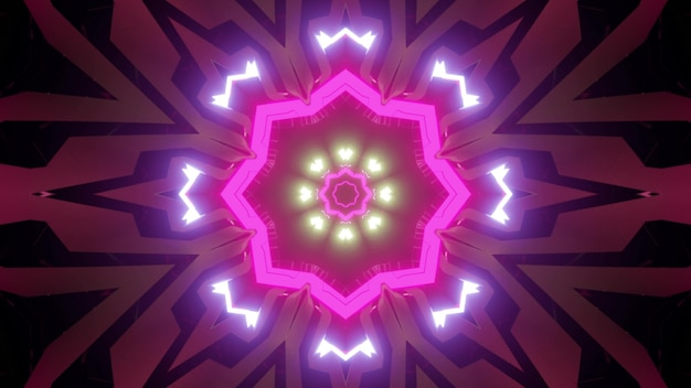 3d illustration of abstract background of symmetric tunnel with pink and purple neon lights Premium Photo