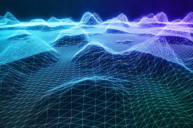 3d illustration abstract digital wireframe landscape. cyberspace landscape grid. 3d technology. abstract internet connection in cloud computing, communications network blue landscape Premium Photo