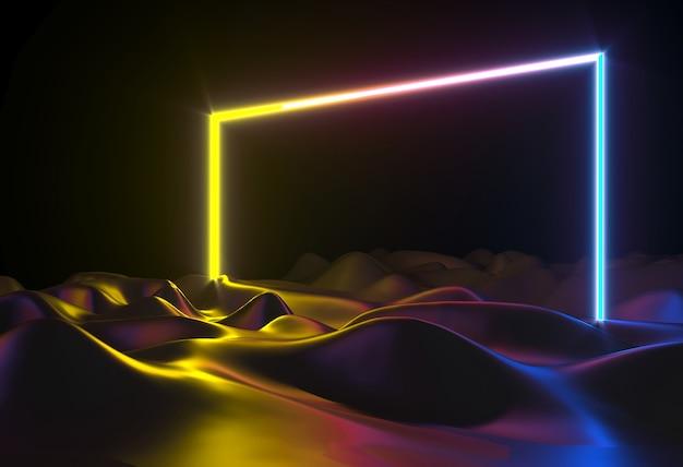 3dイラスト。抽象的なネオン形状ホログラムledレーザードアポータル Premium写真