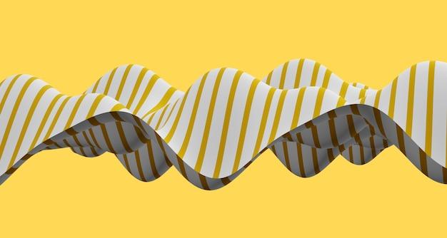 3dイラスト白黒曲線の抽象的な波とさまざまな表面パターン錯覚。幻想イラスト。波線ダイナミックカーブストライプフラグの未来的な背景 Premium写真