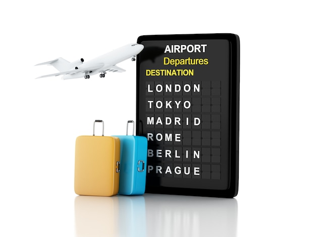 3d illustration. airport board, travel suitcases and airplane. travel concept. Premium Photo