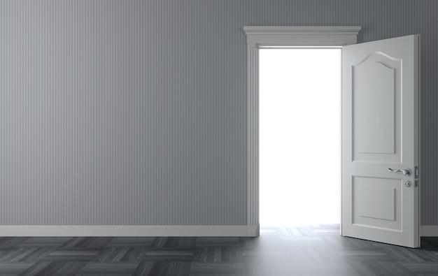 3 dイラスト壁に開いている古典的な白い扉。ドアの後ろの光。 Premium写真