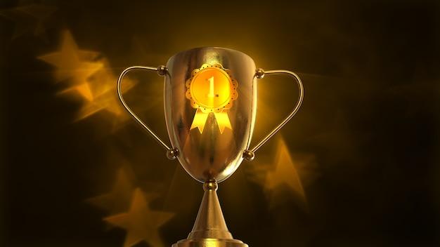 3d illustration award, trophy isolated on orange background Premium Photo